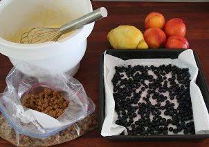 Nektarin og blåbær smule kake