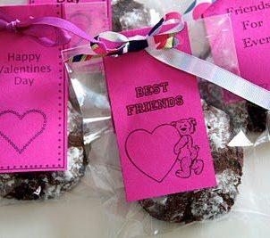 Sjokocookies med Valentins innpakning