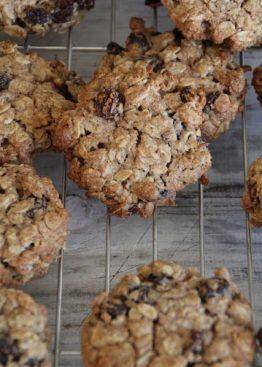 Havre og rosincookies
