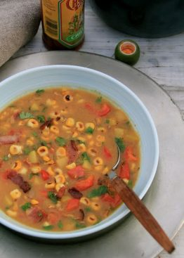 Grillet mais-suppe med futt