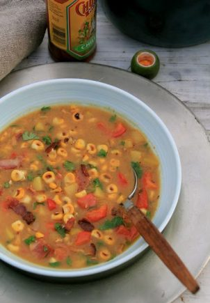 Grillet mais-suppe med futt