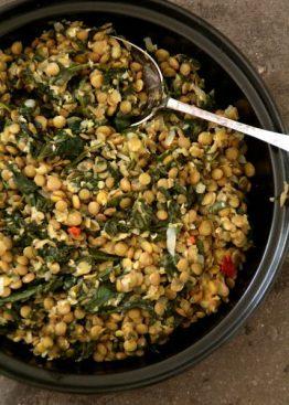 Grønne linser med spinat