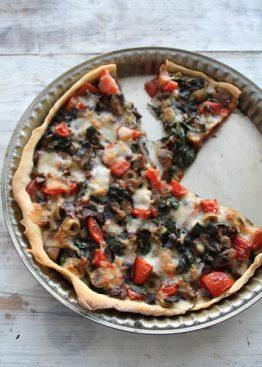 Shabby chic pizzapai med grønnsaker