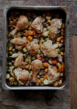 Ovnsbakt kylling og grønnsaker