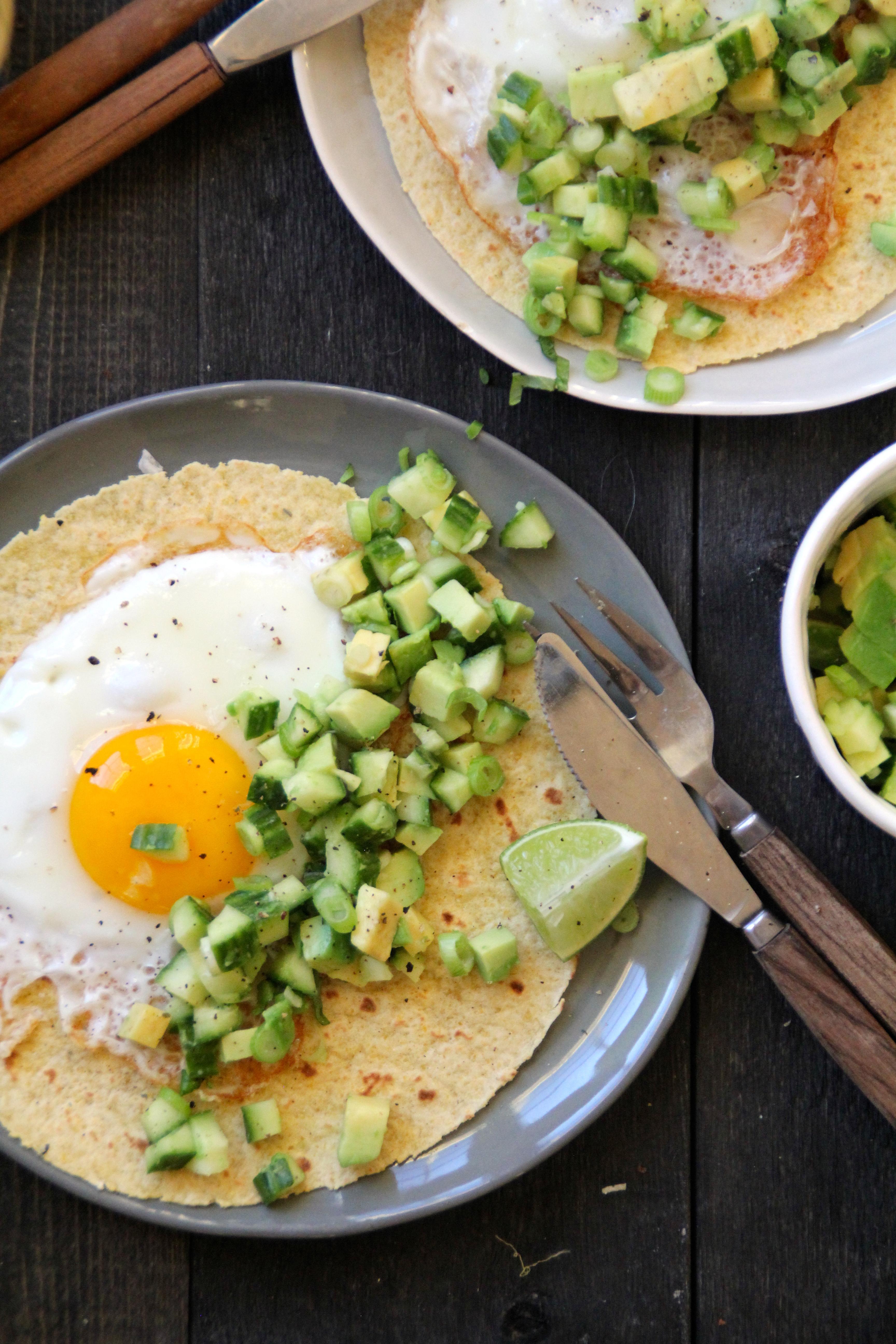 Frokost-taco med grønn salsa