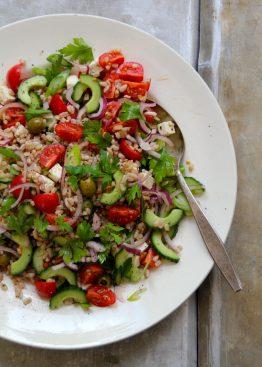 gresk salat med perlespelt