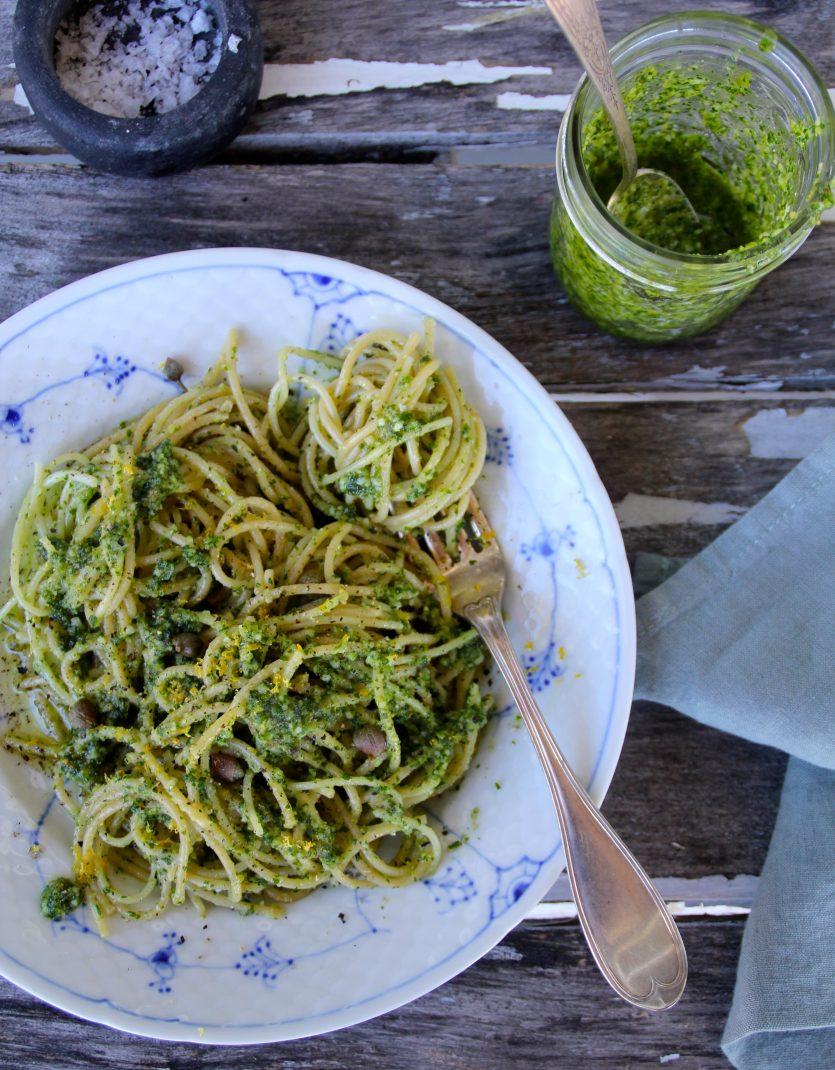 spaghetti med persillepesto