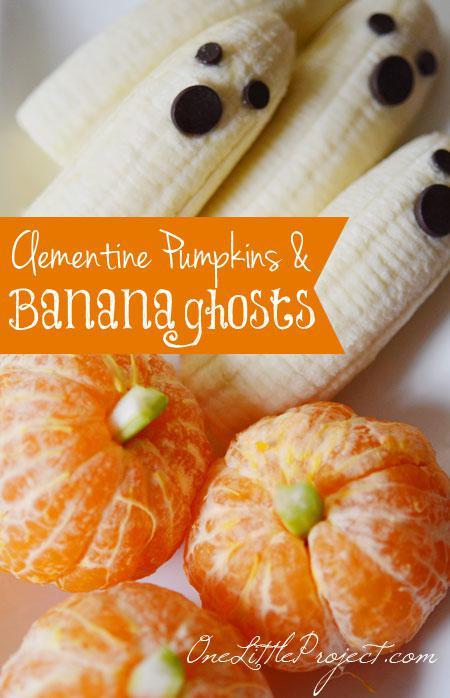 Clementine-Pumpkins-and-Banana-Ghosts - halloween oppskrifter