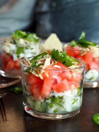 ceviche med hvit fisk og vannmelon