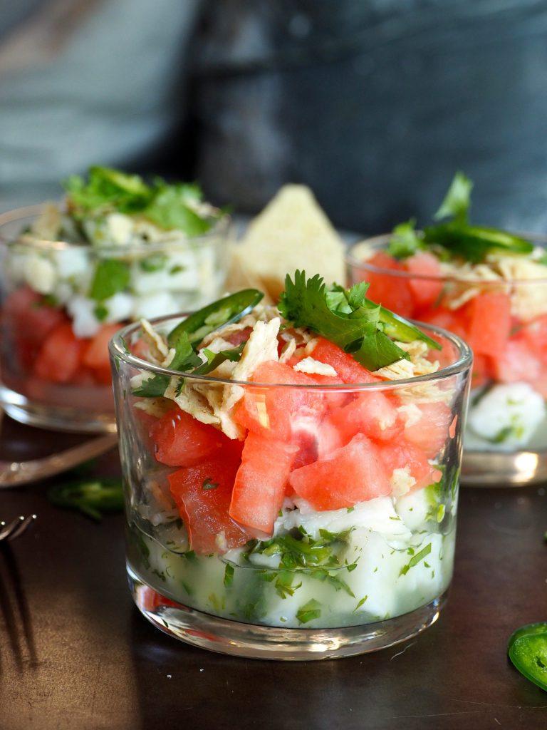 ceviche med hvitfisk og vannmelon