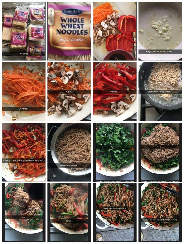Stekte grønnsaker med fullkornsnudler