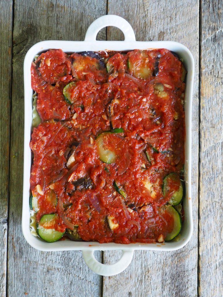 Vegetarlasagne med squash og aubergine