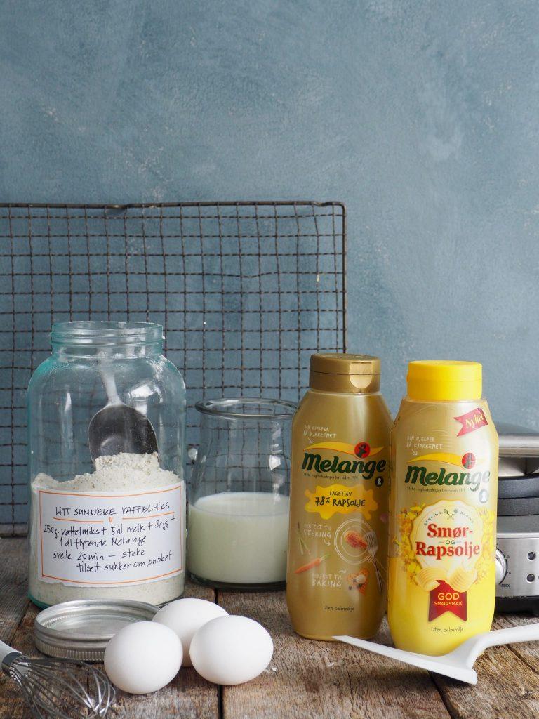 Litt sunnere, grove vafler (med ost og skinke)