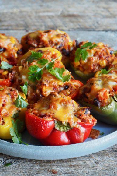 Fylte paprika med ris og bønner (vegetar)