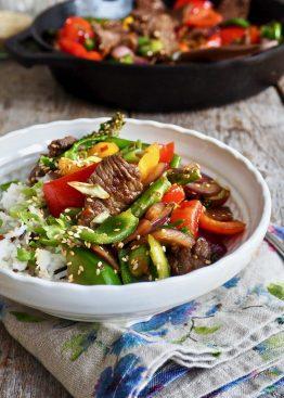 Spicy biff med grønnsaker