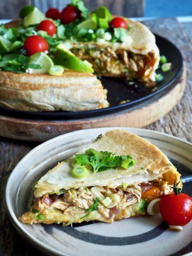Crunch wrap med kylling i paiform