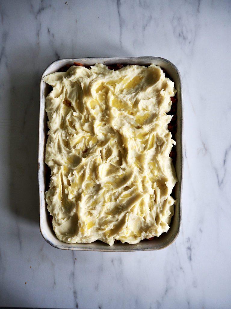 Shepherd's pie - med lam, linser og spinat