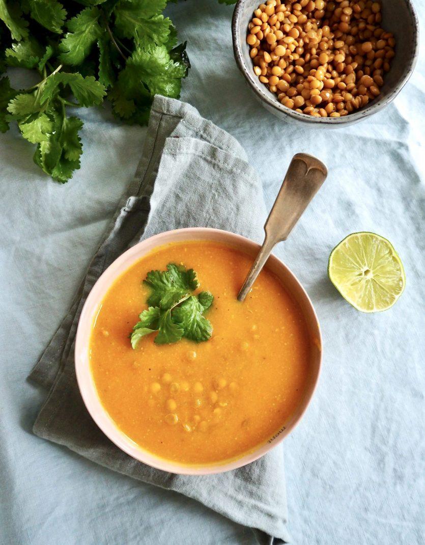 søtpotet suppe med linser