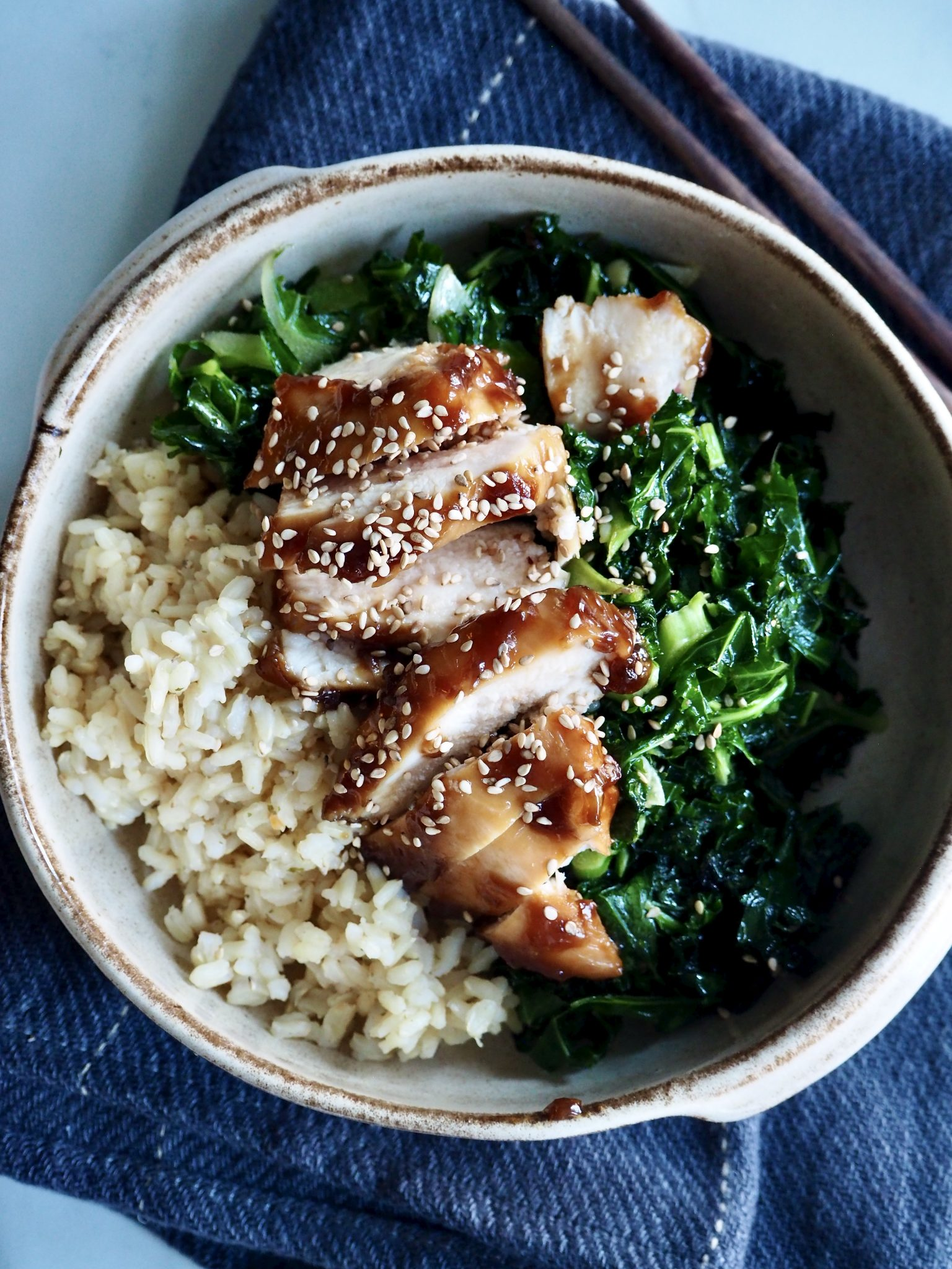 Teriyaki kylling med grønnkål og ris