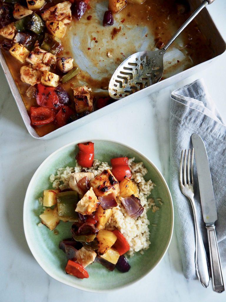 Spicy kylling med ananas og paprika