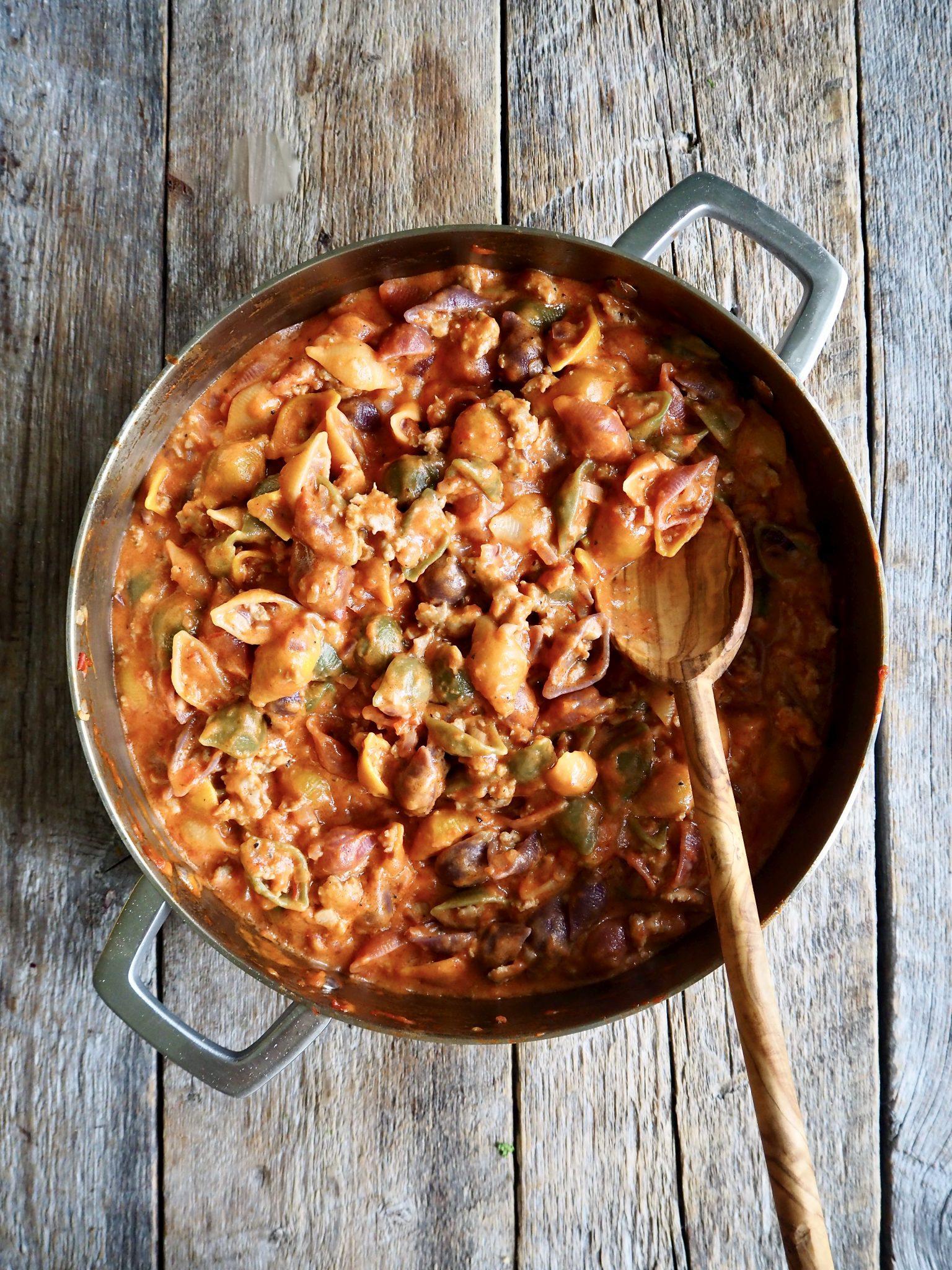 One pot pasta med kjøttsaus