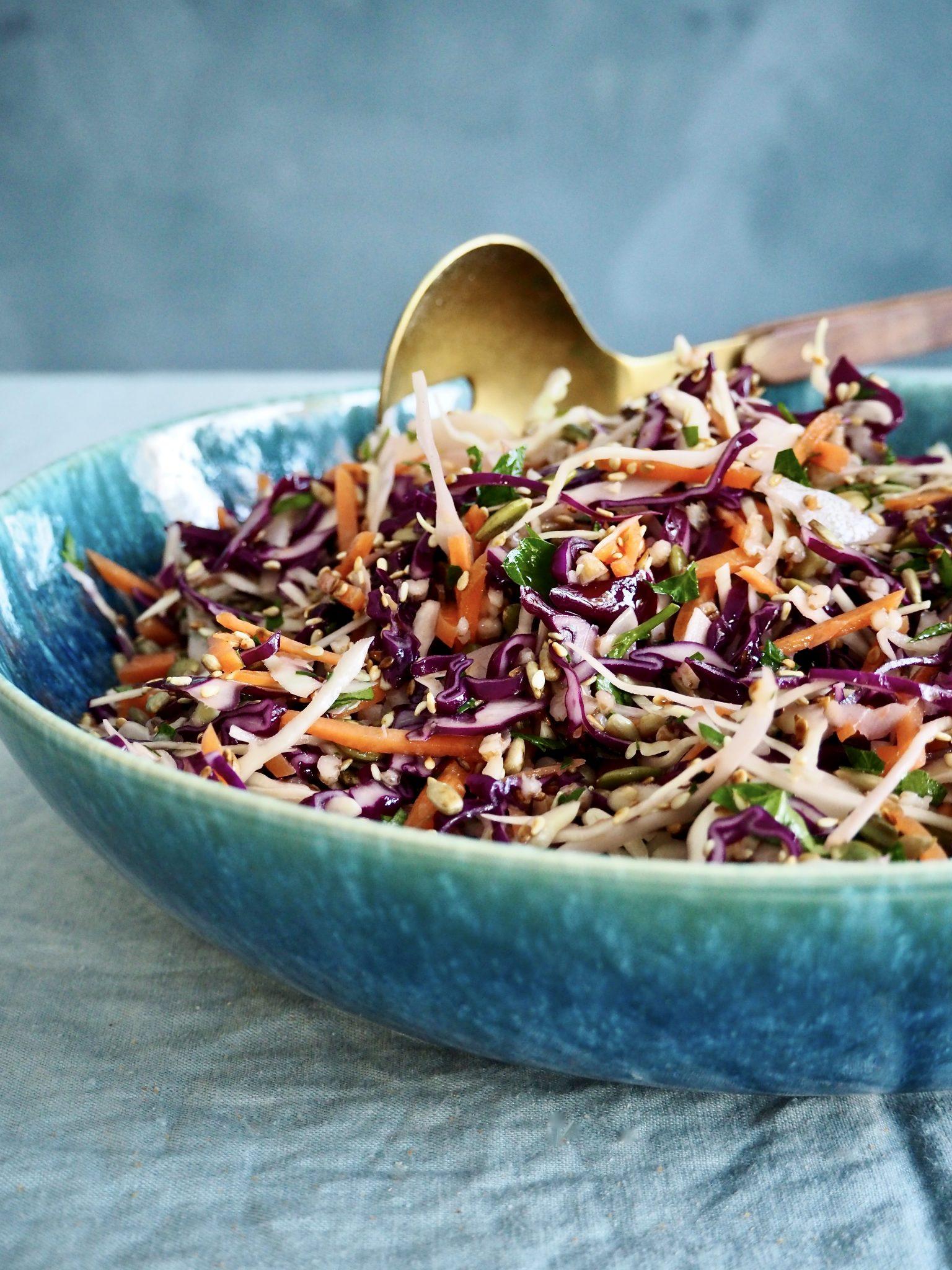 Fargerik kålsalat med frø og bygg