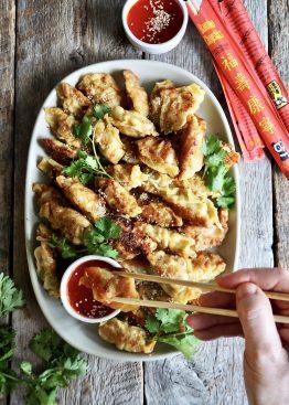 Gyoza (dumplings) med svinekjøtt og scampi