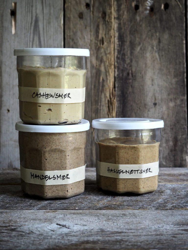 Nøttesmør (cashewsmør, mandelsmør og hasselnøttsmør)