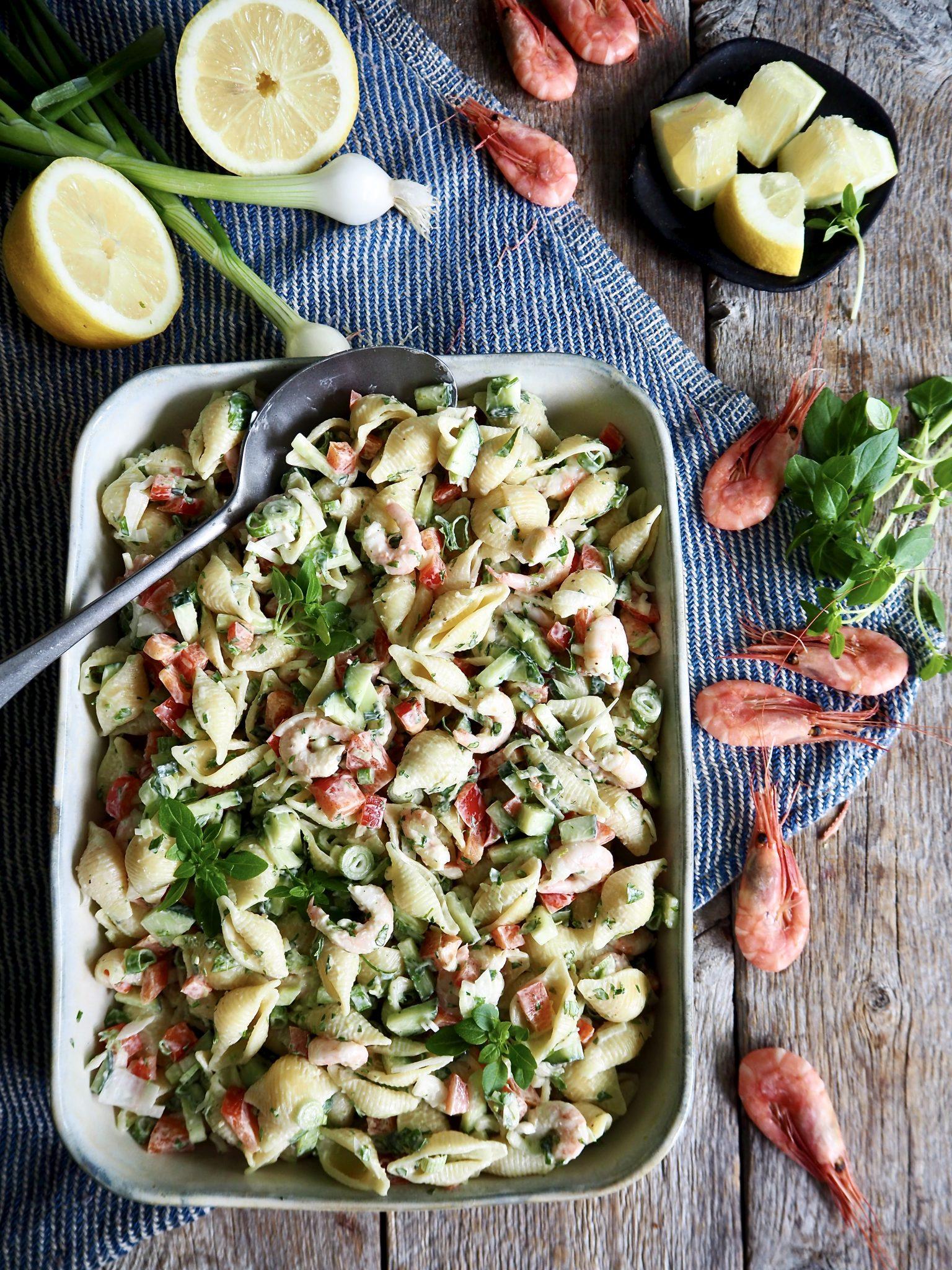 Nydelig pastasalat med reker