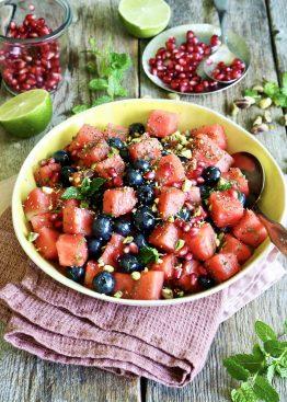 Vannmelonsalat med blåbær
