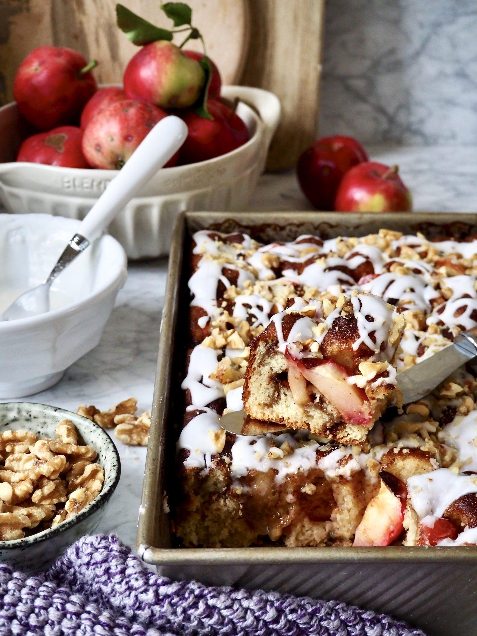 Focaccia med kanel og epler