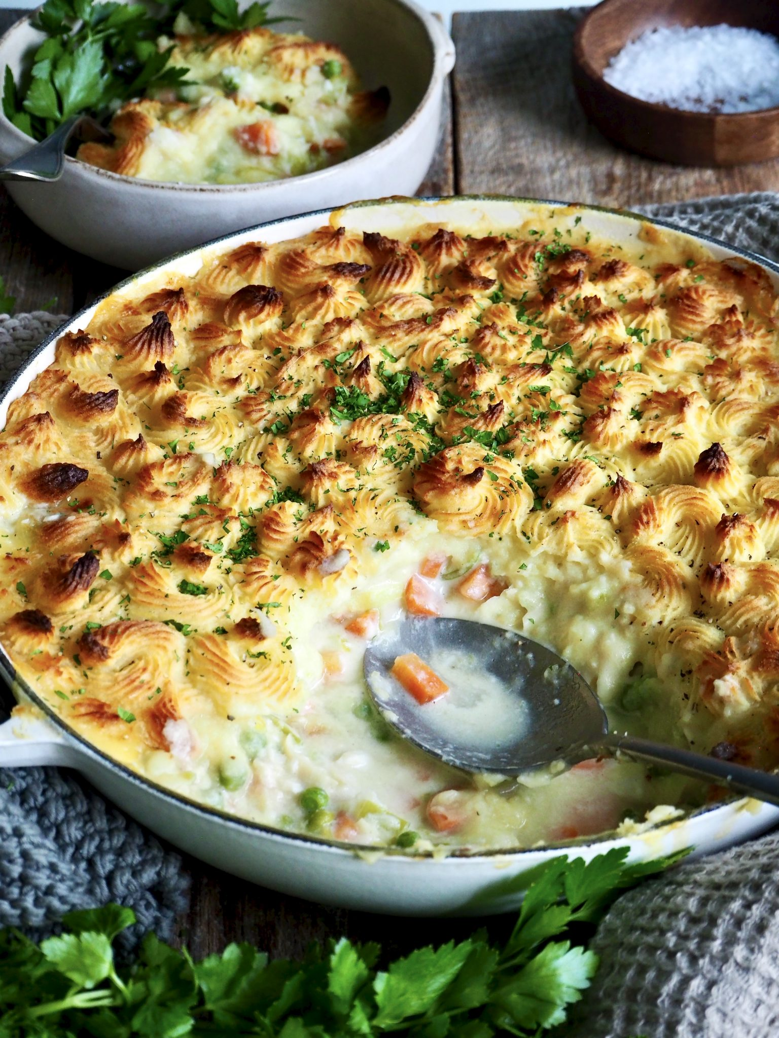 fiskegrateng, fish pie