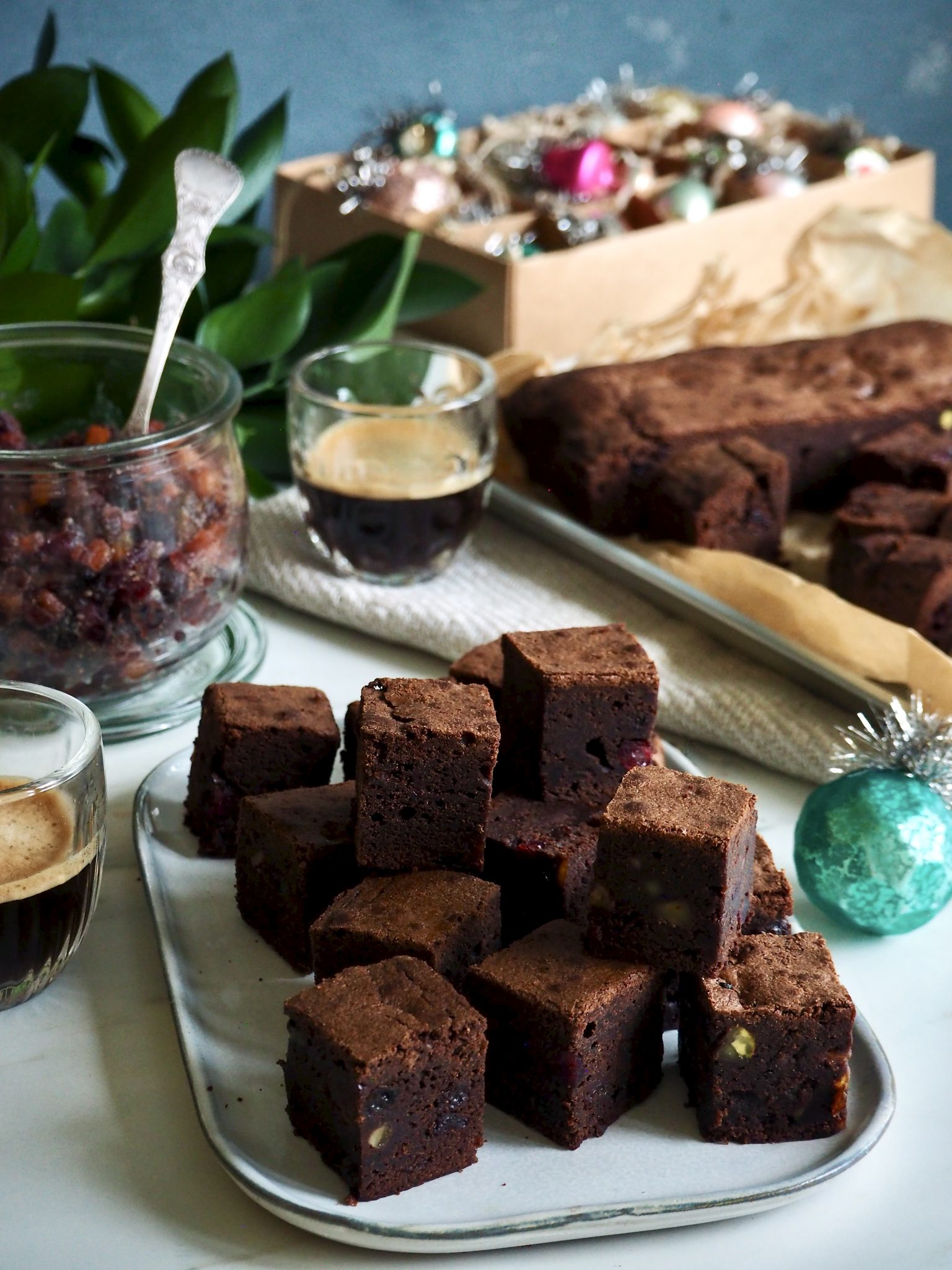 Nydelige brownies med julesmaker