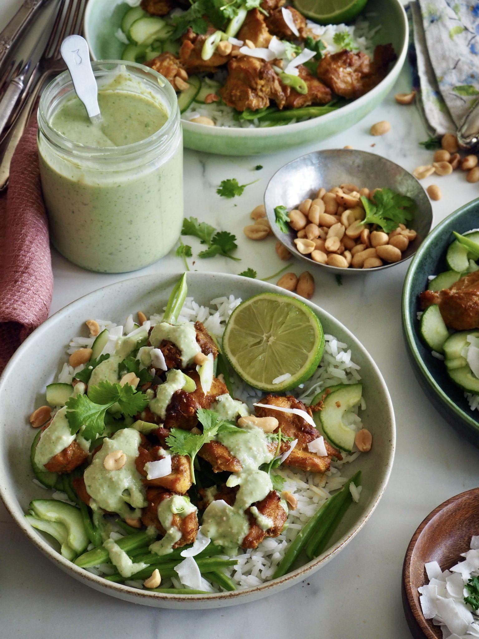 Litt spicy kyllingsalat med en spennende dressing